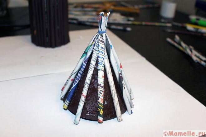 крыша для мельницы из газетных трубочек