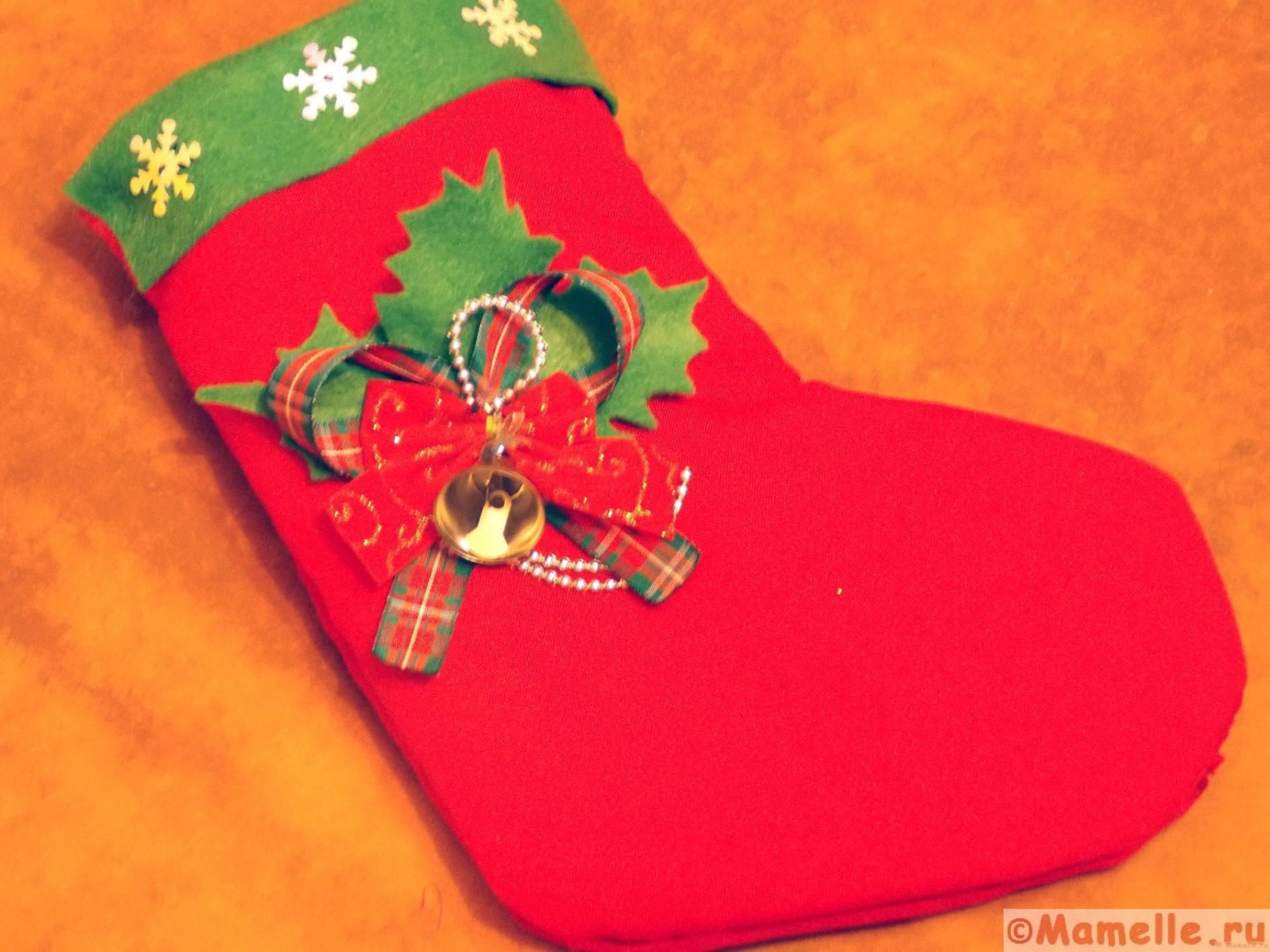 рождественский носок для подарков фото