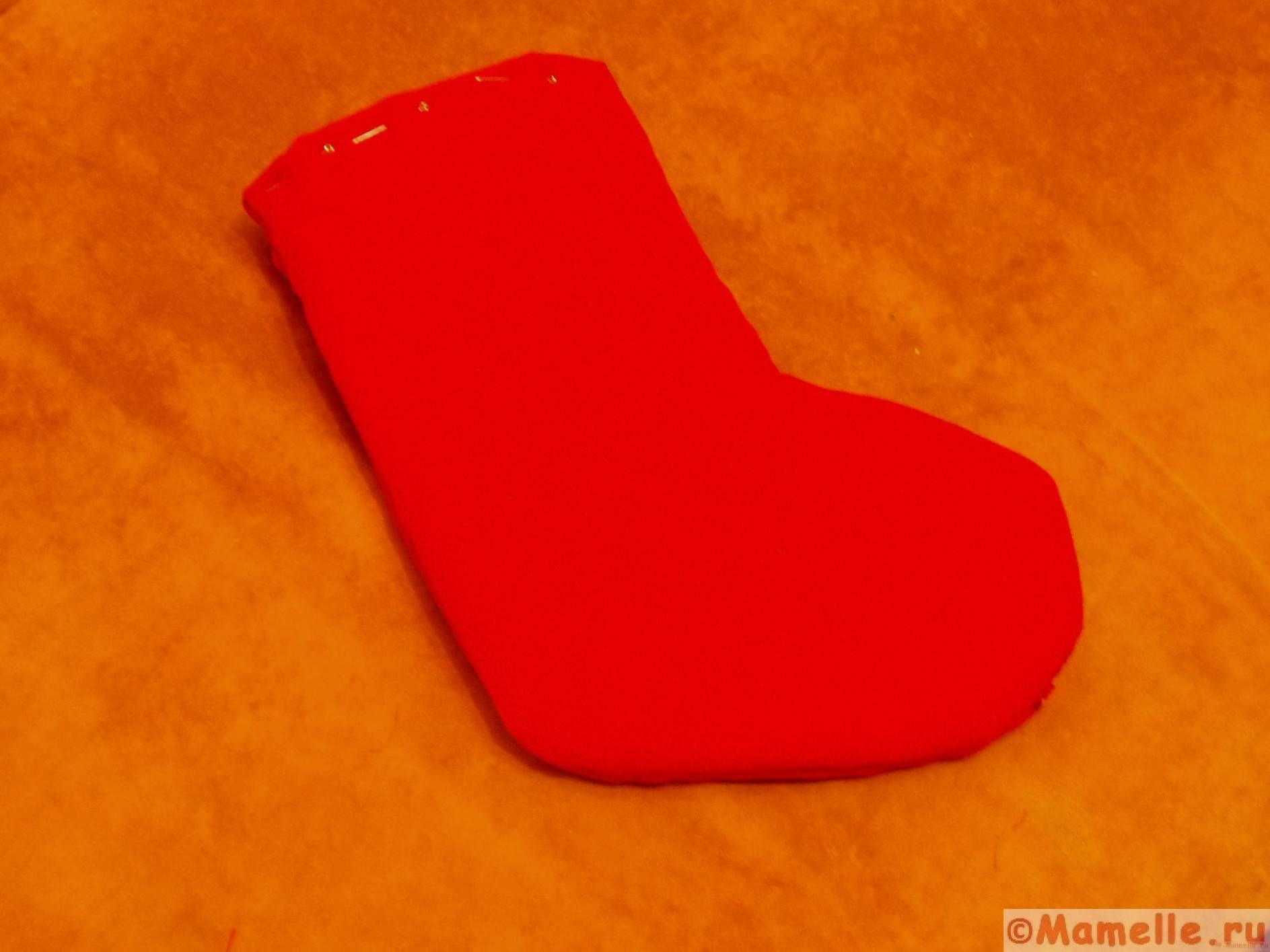 новогодний носок из фетра фото