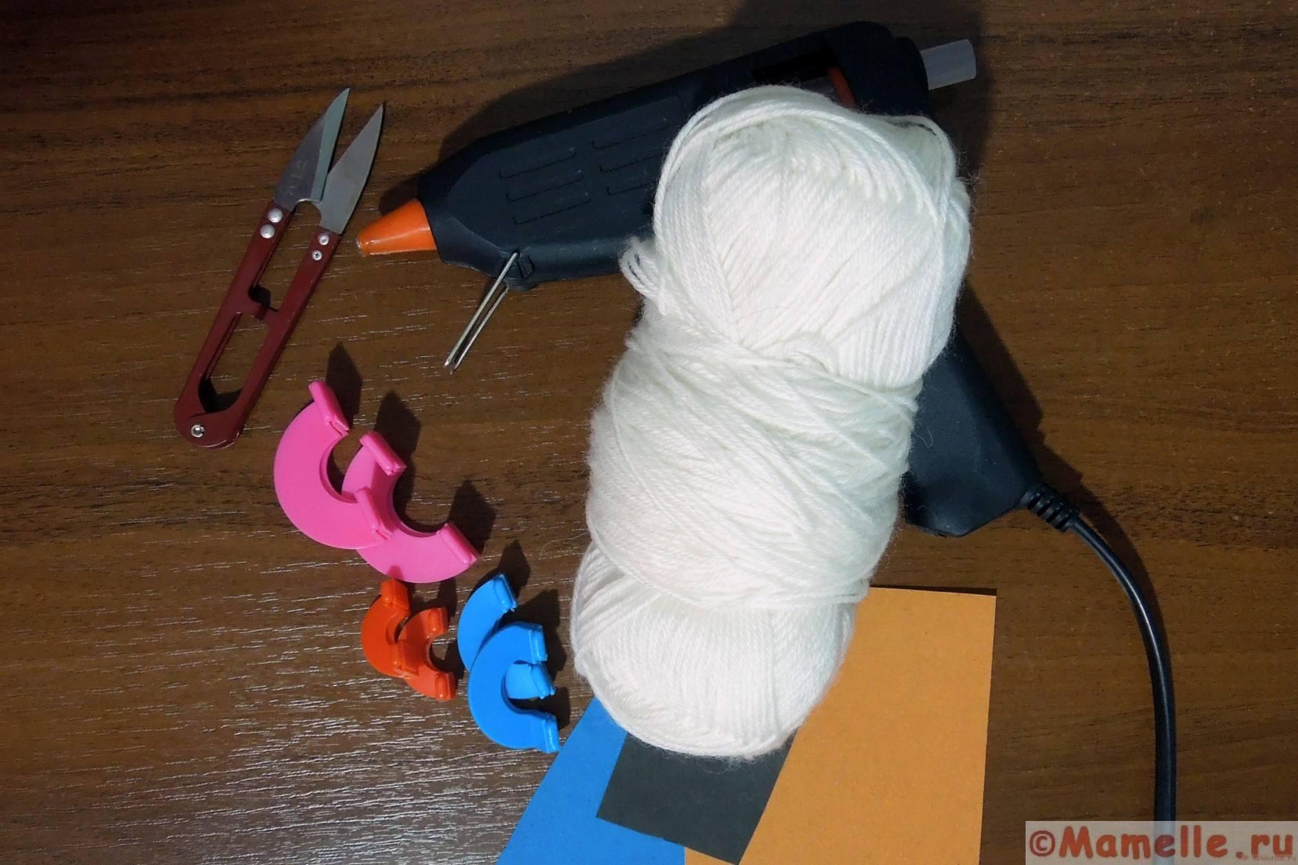 мастер класс снеговик из помпонов фото